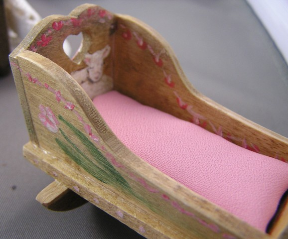 Painted Folk-Art Cradle by Denney