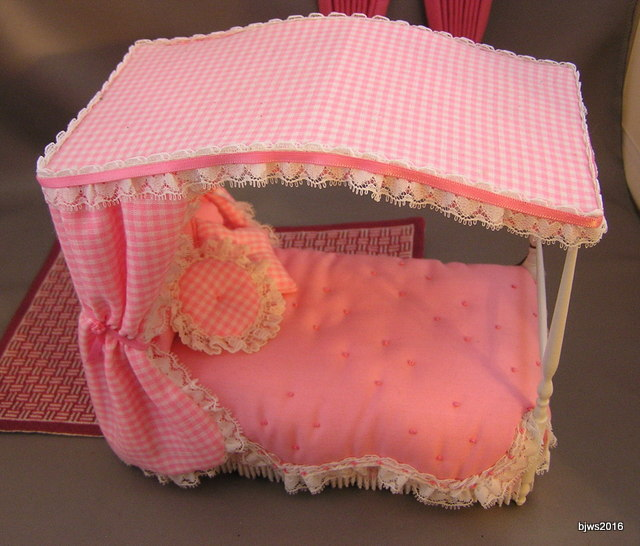 Pink Canopy Bed, Artist Joyce Slimmon, signed
