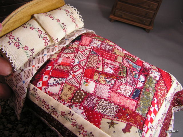 Red Patchwork Embroidered Quilt
