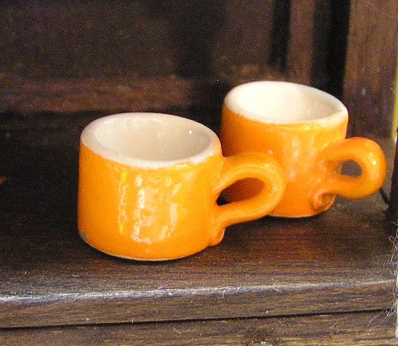 2 Orange Mugs, Hot Cider Anyone?
