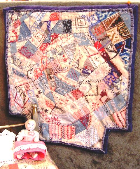 Blue Embroidered Cotton Crazy Quilt