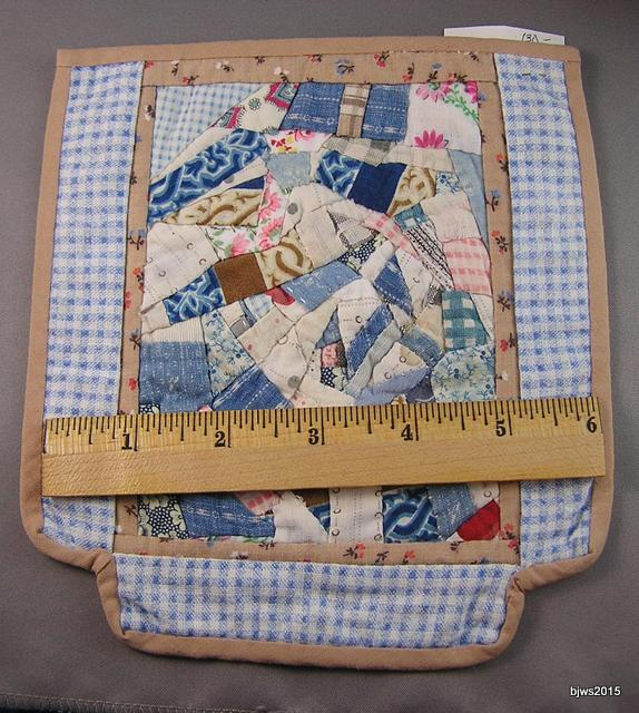 Crazy Quilt in Vintage Blues, Hand Stitched