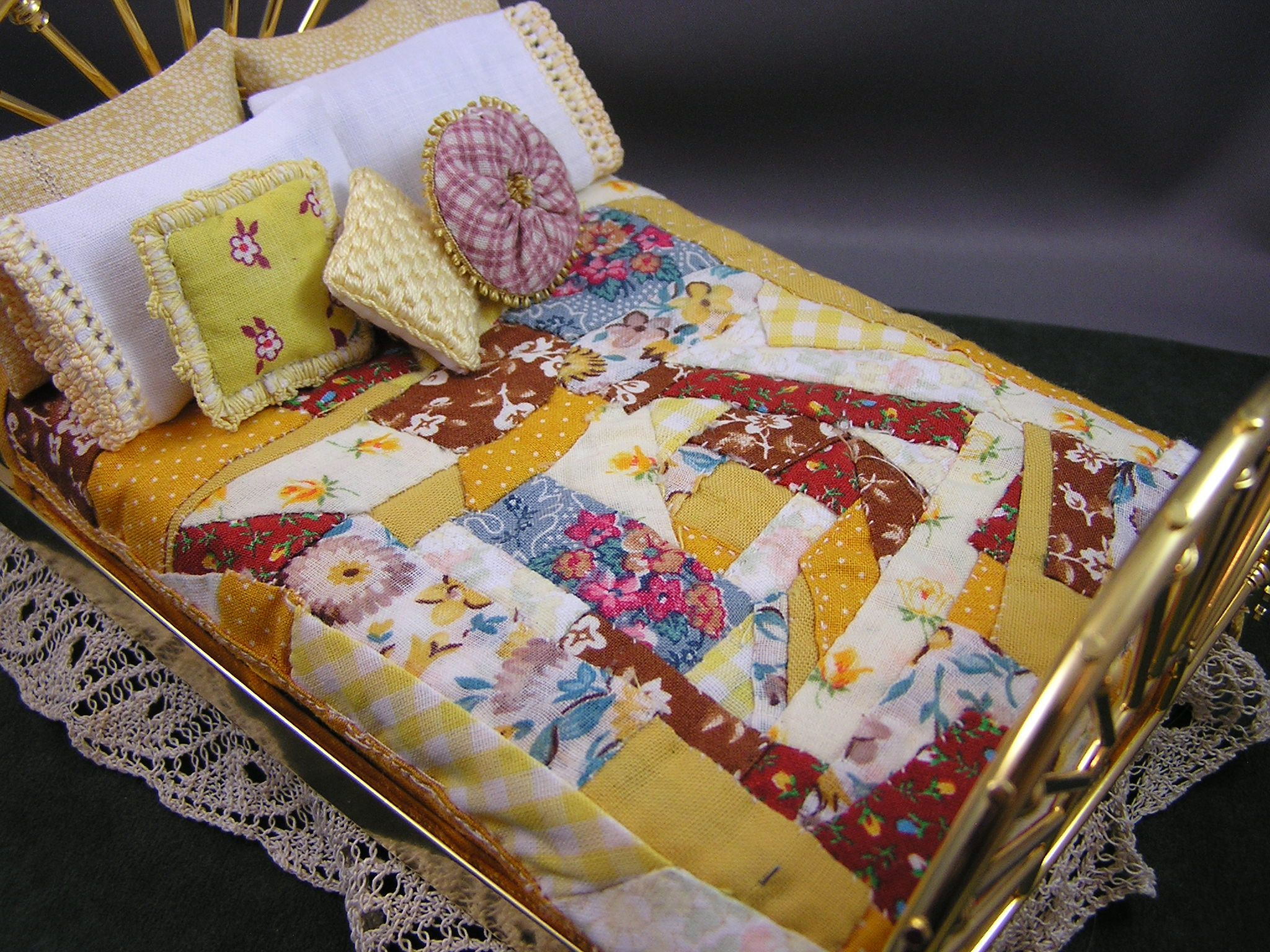 Gold and Brown Double Crazy Quilt