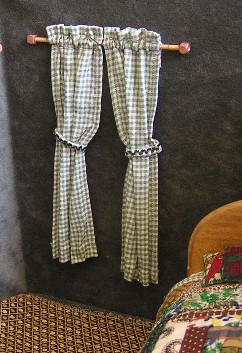 Green Checked Rod Pocket Curtain and Rod