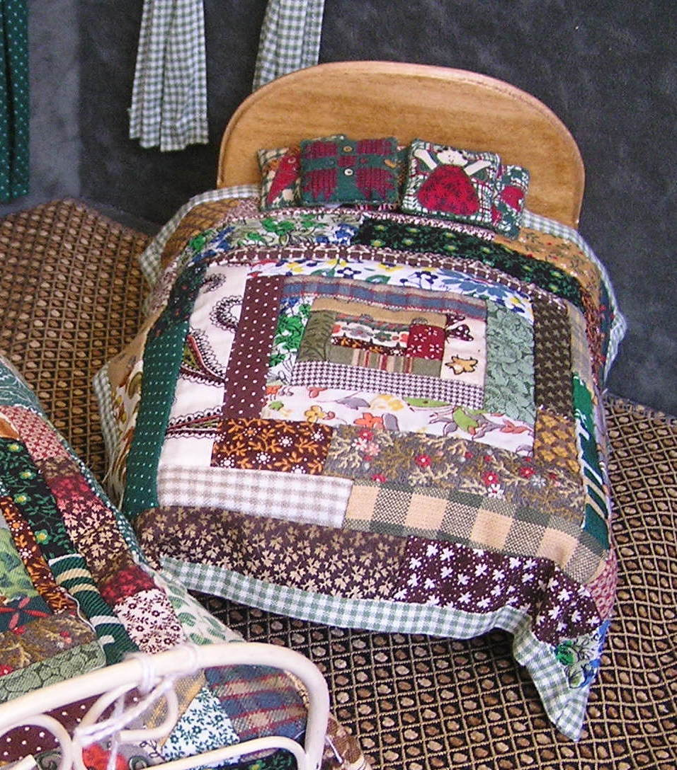 Forest Greens Log Cabin Style Quilt