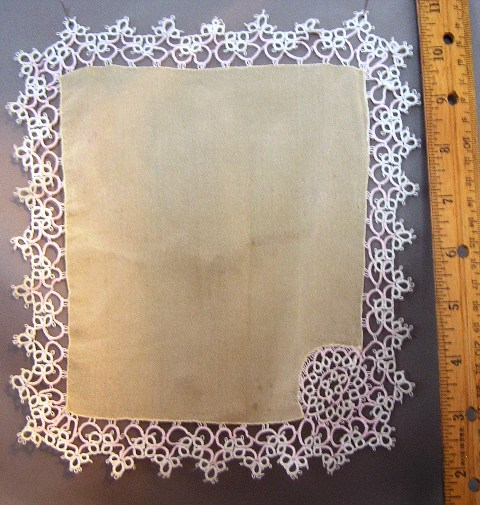 Silk Handkerchief Throw with Tatting - Click Image to Close