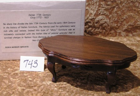 Italian Handcarved Walnut Coffee Table #743