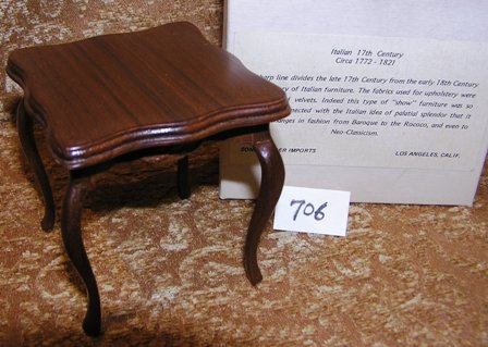 Italian Handcarved Walnut Square Table #706