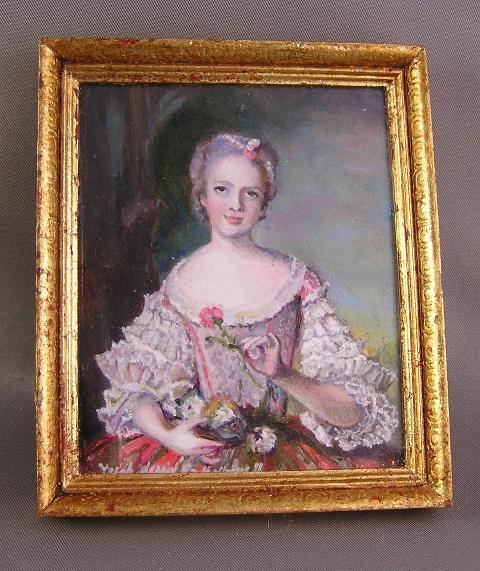 """Louise de France"" (Nattier) in Oil by L. Herrick-Hallowell"