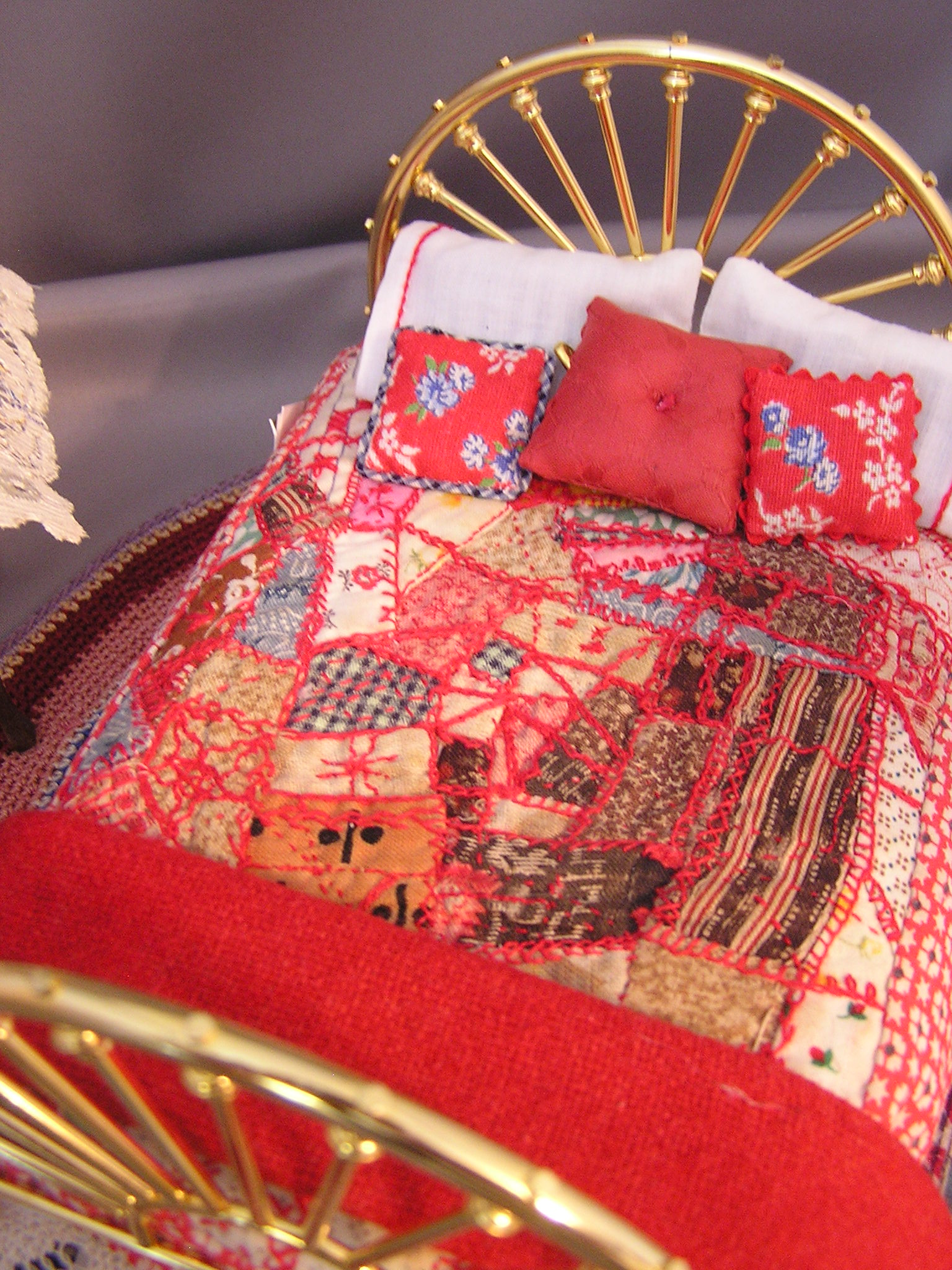 Embroidered Crazy Quilt in Reds