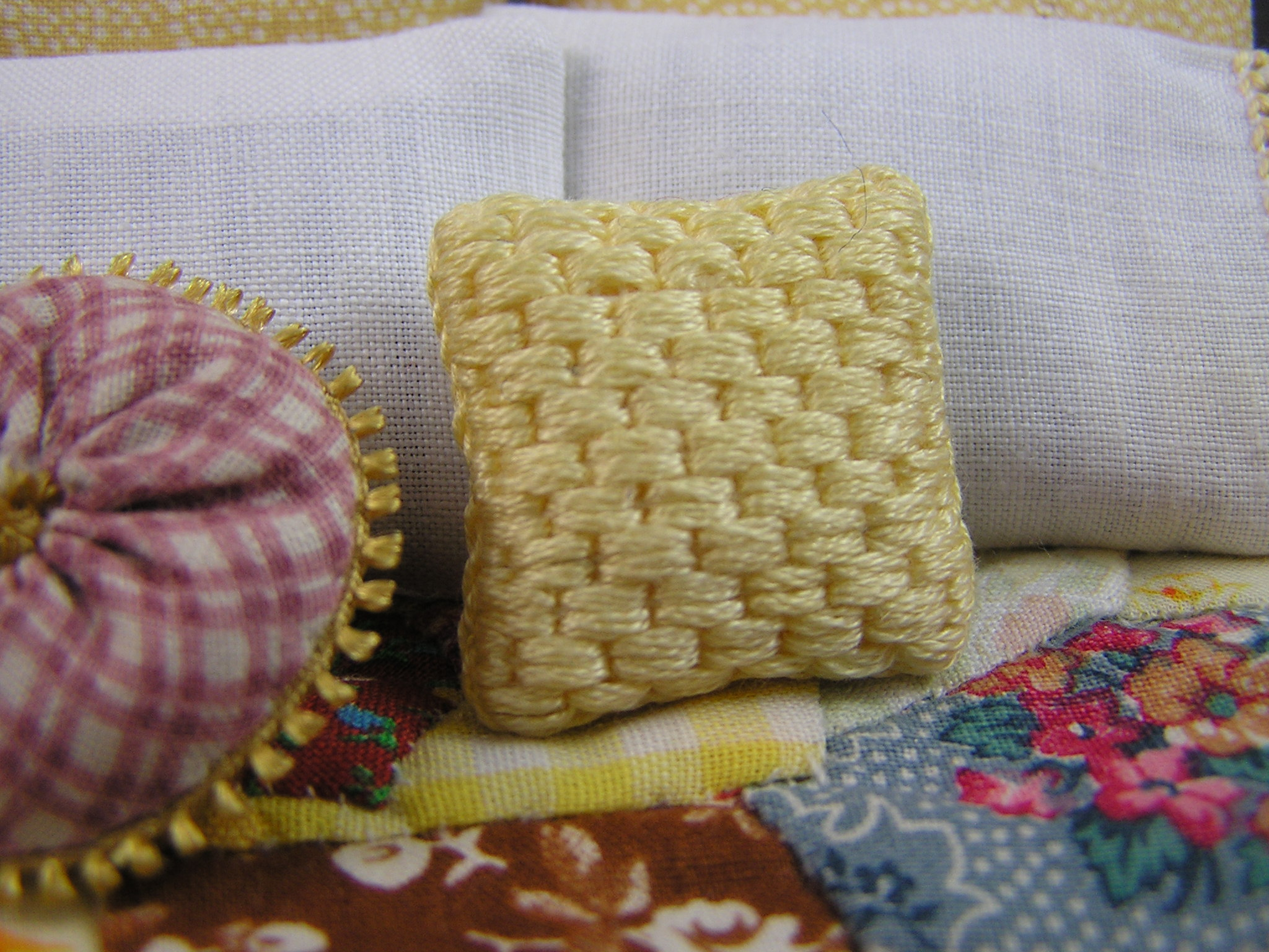 Soft Yellow Needlepoint Throw PIllow