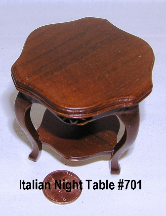 Italian Handcarved Walnut Night Table #701