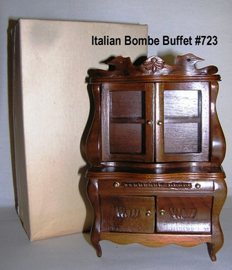 Italian Handcarved Walnut Bombe Buffet #723