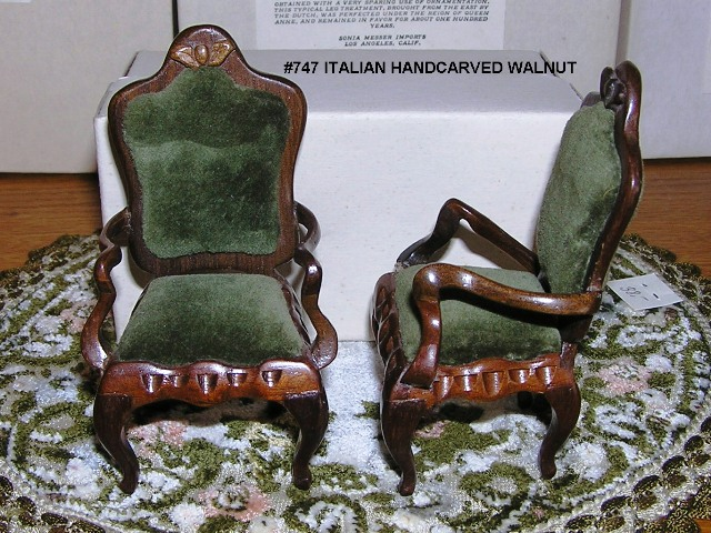 Italian Handcarved Walnut Arm Chairs #747