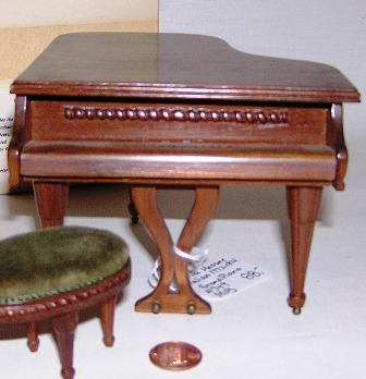 Italian Handcarved Walnut Grand Piano #749 - Click Image to Close