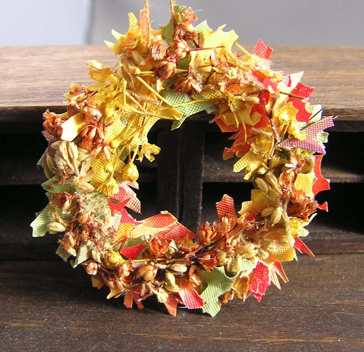 Dried Wreath and Pumplkin