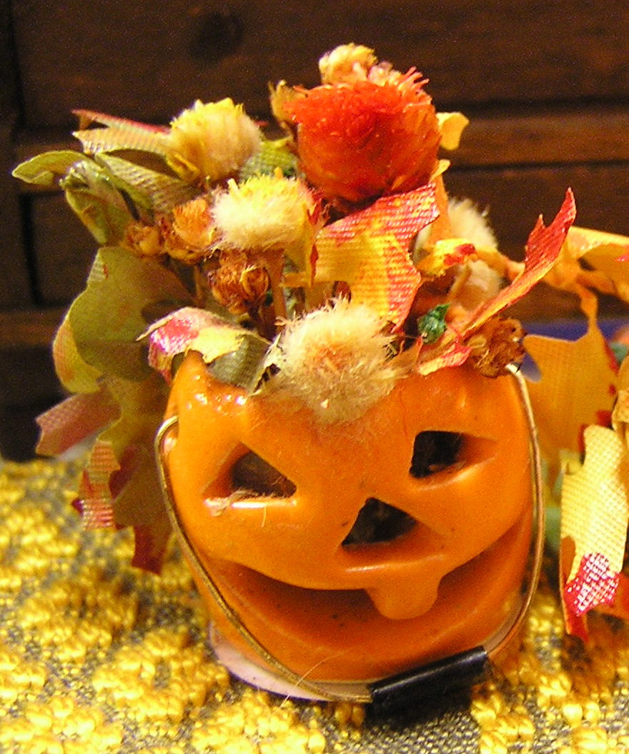 Pottery Jack-O-Lantern with Floral Arrangements