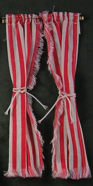 Red Stripe Tie-Back Curtains