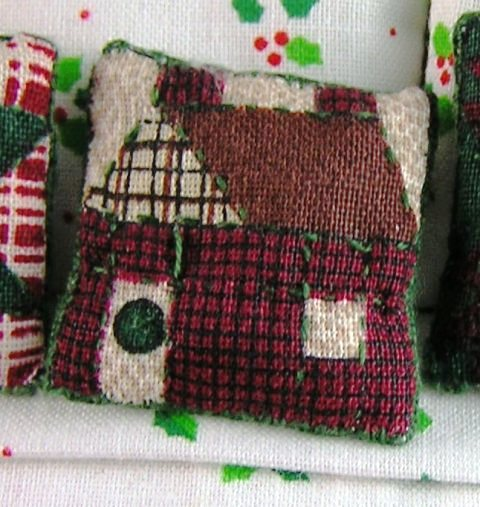 Quilted-look Throw Pillow #2, Patchwork House